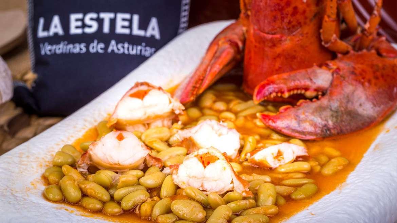 Verdina asturiana con bogavante